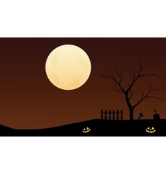 Halloween pumpkins and big moon backgrounds vector