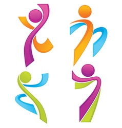 Sportive people symbols look like ribbons vector