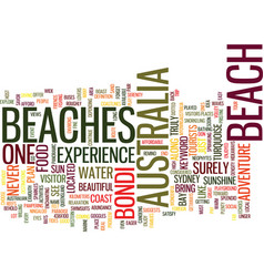 Australia beaches text background word cloud vector