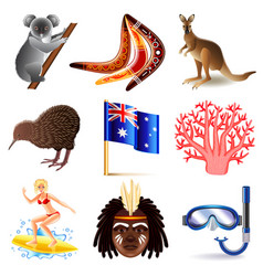 Australia icons set vector image vector image