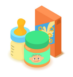 Baby food icon cartoon isometric 3d style vector