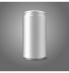 Blank aluminium can with condensated water drops vector