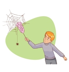 Cartoon man tries to remove spider net vector