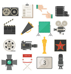 cinema symbols icons set vector image vector image