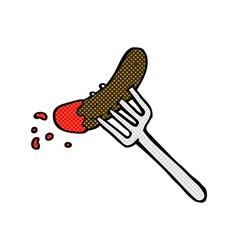 Comic cartoon hotdog and ketchup vector