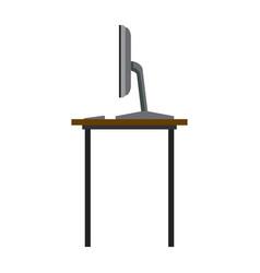 desk computer office work space vector image vector image