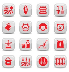 farm icon set vector image