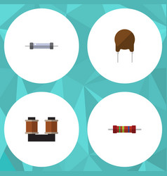 Flat icon technology set of resistor coil copper vector
