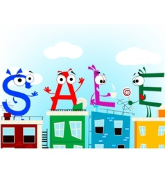 Fun cartoon letters announcing discount eps 10 vector image