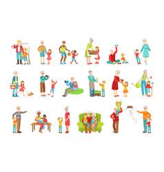 Grandparents and kids spending time together set vector