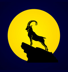 ibex standing on the cliff mountain goat vector image