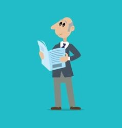 man reading a newspaper vector image vector image