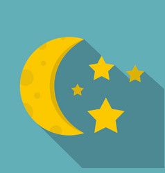 Night sky with stars and moon icon flat style vector