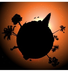 planet with plants in space vector image vector image