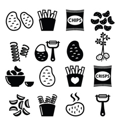 Potato french fries crisps chips icons s vector