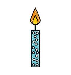 Scribble cute birthday candle cartoon vector