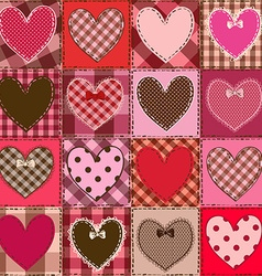 Seamless pattern of fancy heart patchworks vector image vector image