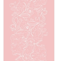 Seamless vertical lace ribbon white flowers on a vector
