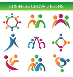 Set of icons crowd business relationship vector image vector image