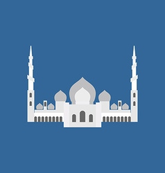 Sheikh Zayed Grand Mosque in Abu Dhabi flat sign vector image