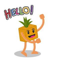 Smiling pineapple fruit cartoon mascot character vector