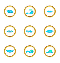 surf waves icons set cartoon style vector image