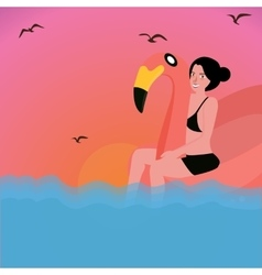 Woman riding inflatable flamingo water pool vector