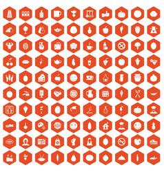 100 vegetarian cafe icons hexagon orange vector