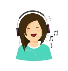 Happy smiling girl with headphones singing song vector