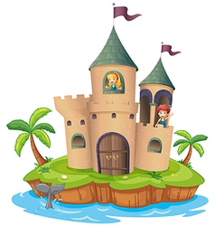 A castle in an island vector
