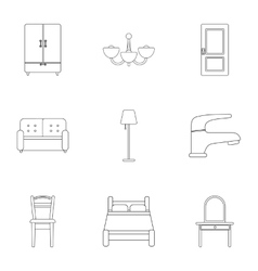Furniture set icons in outline style big vector