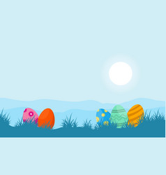 easter egg on hill landscape vector image