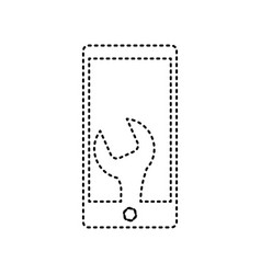 Phone icon with settings black dashed vector