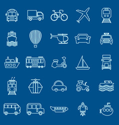 Transportation line color icons on blue background vector