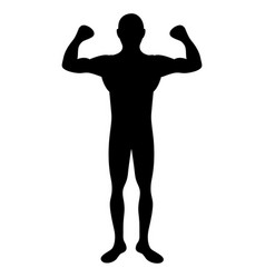 Black silhouette big muscle man fitness vector