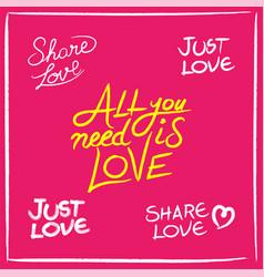 love concept handwritten lettering quotes set vector image