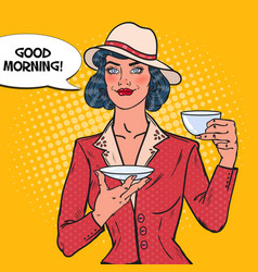 beautiful woman drinking morning tea in cafe vector image