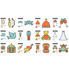 Family line icon set vector