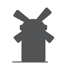 Windmill or mill line icon with shadow vector