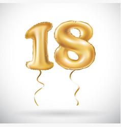 Golden number 18 eighteen metallic balloon party vector