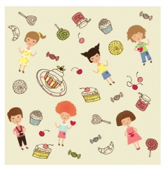 cakes and sweets cartoon vector image