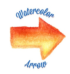Orange watercolor arrow vector image