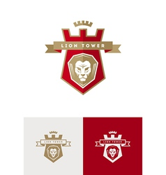 Emblem with lion head vector