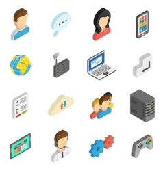Internet isometric icon set vector