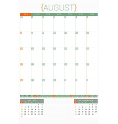 Calendar planner 2016 design template august week vector