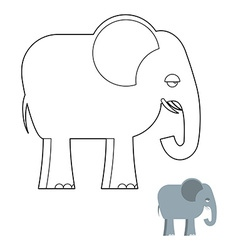 Elephant coloring book big animal of jungle with vector