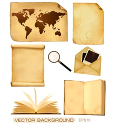 Set of old paper sheets and old map vector