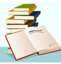 Opened book lying near stack of books vector
