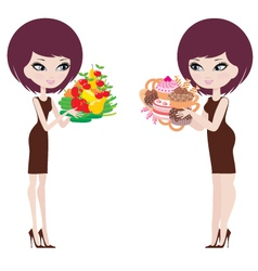 Two women thick and thin vector