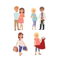 Young pregnant woman character vector